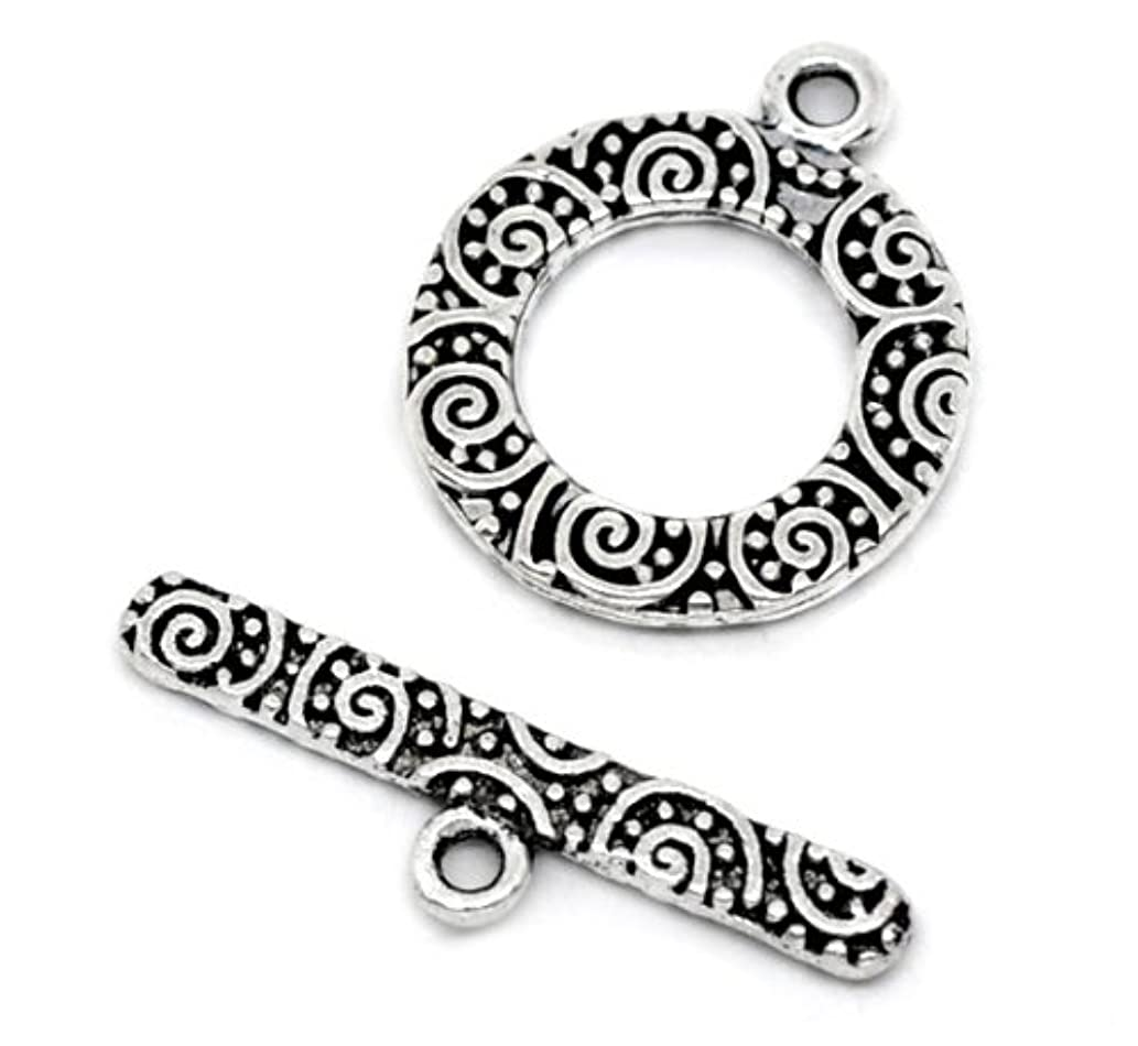 Toggle Clasps, 38 Sets, Round Antiqued Silver Tone - Jewelry Making Bracelets - Filigree Look Design