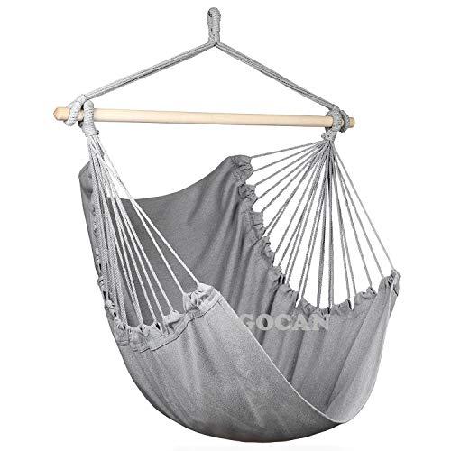 GOCAN Silla de hamaca súper grande para colgar silla de algodón suave, barra de madera dura, asiento ancho, silla oscilante (gris)