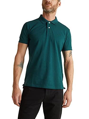 Esprit Piqué-Poloshirt-100% Cottone - Maglietta Polo Uomo, Verde (Dark Green 300), Medium