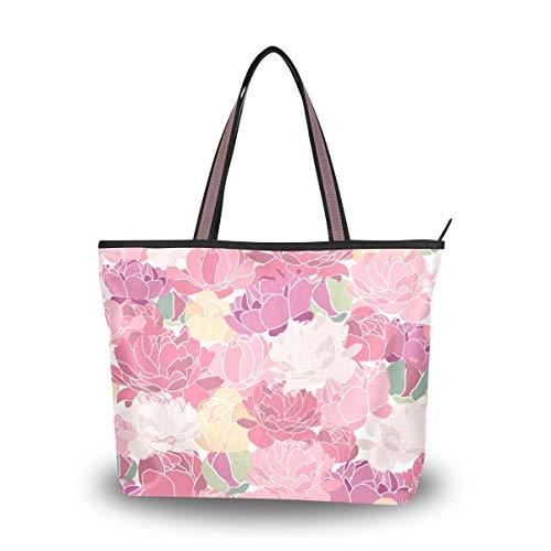 Eslifey Pink Peonies Damen Tote Bag Handtaschen Schultertaschen für Damen Mädchen Gr. 38, multi