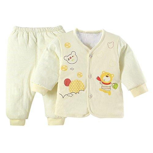Otoño e Invierno, cómodo y cálido algodón Acolchado en el Interior, Ropa y Pantalones, Traje para bebés recién Nacidos, niños pequeños, niñas, niños, Amarillo, S Uniquelove