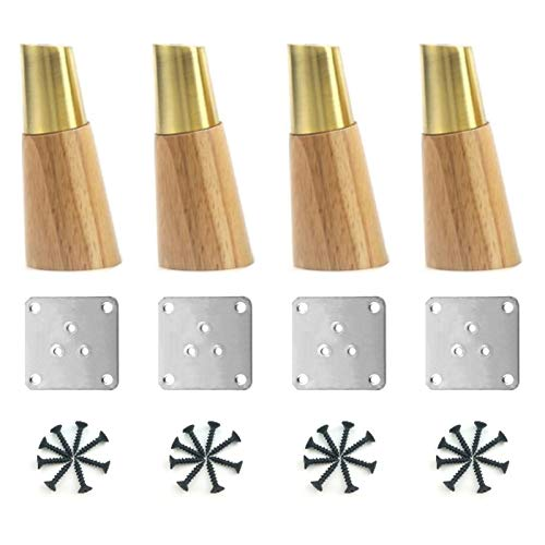 GYF 4 Piezas Patas De Muebles, Pies De Muebles De Madera Maciza Fuerte Capacidad De Carga con Placa De Montaje Y Tornillos para Sofás, Camas, Sillones, Mesas (Color : Wood, Size : 15cm)