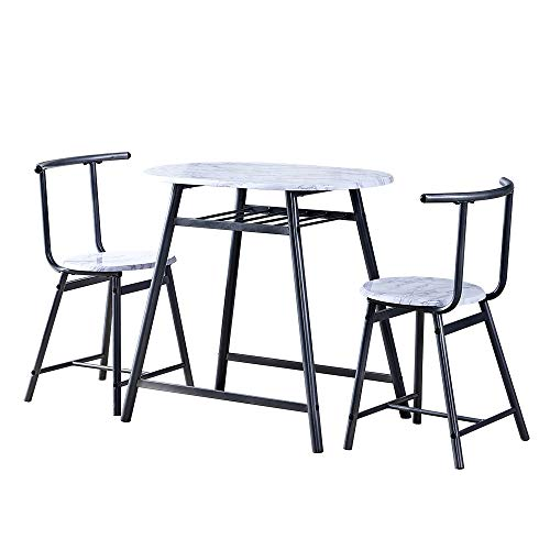 Kitchen Dining Room White Marble Finished Table and Chairs Set of 2 Space Saving, 3 Pieces Modern Dining Table and Stool Set Wood Top Metal Frame for Small Apartment Dinette