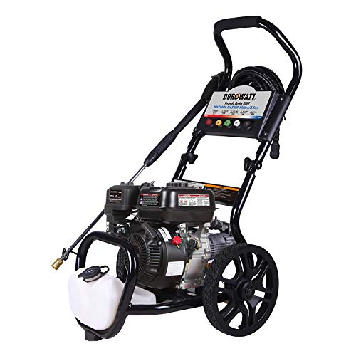 compact ga pressure washers DUROWATT 3200 PSI Gas Pressure Washer,2.5 GPM 223CC 7.5HP Power Washer Gas with 5 Adjustable Nozzles, 1.1 Gal Onboard Soap Tank, 12