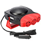 Portable Car Heater, 12V 150W Car Defroster Defogger with Fast Heating & Cooling Function, 3-Outlet Car Heater That Plugs in Cigarette Lighter