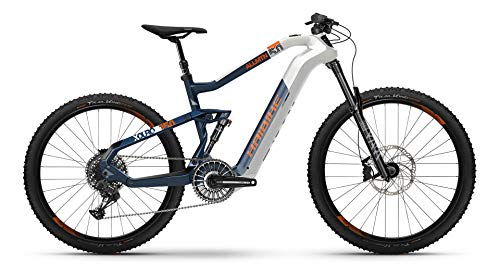 HAIBIKE Bicicleta eléctrica Xduro AllMtn 5.0 Flyon 2021 (M/44 cm), color blanco, azul y naranja