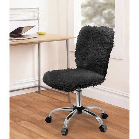 Faux Fur Armless Swivel Office Chair (Black)