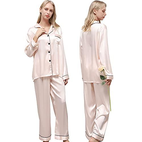 Ladieshow Pijamas Satén para Mujer, Pijamas Set Mujer Manga Larga Elegante y Moda, Largo Conjunto de Pijamas Camisón Seda para Mujer, 2 Piezas Ropa de Dormir con Botones Suave y Sedosa (Champán, M)