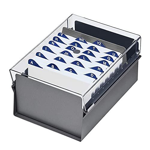 """Acrimet Fichero Tarjetero 4"""" X 6"""" Organizador de Tarjetas con Divisor y Indice A-Z incluidos (Índice A-Z 155mm X 115mm) (Base de Metal Resistente Color Gris y Tapa de Plástico Transparente)"""