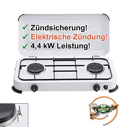 CAGO Gaskocher Camping-Kocher 2 flammig mit elektrischer Zündung und Zündsicherung, inkl. Gasschlauch mit 360°-Manometer Gas-Füllstandsanzeige und Schlauchbruchsicherung 3 4