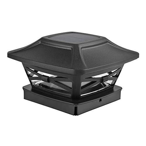 Davinci Lighting Renaissance Solar Outdoor Post Cap Lights - Includes Bases for 4x4 5x5 6x6 Posts - Bright LED Light - Slate Black (1 Pack)