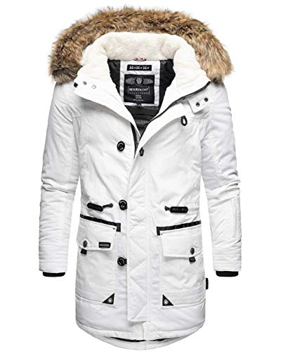 Marikoo Herren Winterjacke Kapuze Kunstfell Winter Jacke Parka warm lang B629 (XXL, Weiß)