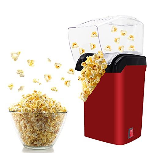 Máquina de Palomitas,Fabricante de palomitas de maíz,Máquina Eléctrica de Palomitas de Maíz, deliciosas palomitas de maíz en 3 minutos, revestimiento antiadherente, sin grasa, sin aceite (rojo)