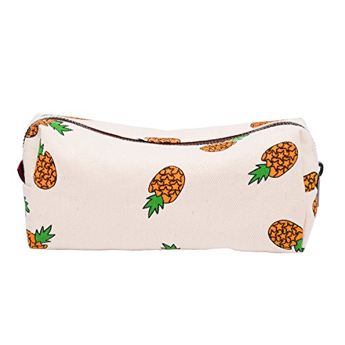 LParkin Teen Large Capacity Canvas Pencil Case Pen Bag Pouch Stationary Case Makeup Cosmetic Bag