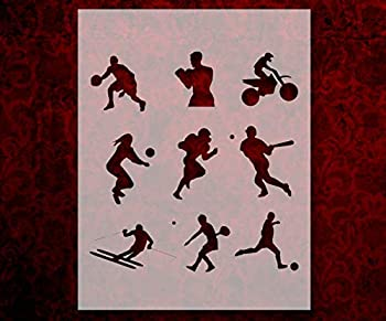 Sports Stencil Players Basketball Football Baseball Template Reusable 8.5 x 11 Inches for Painting on Walls Wood Arts and Crafts  780