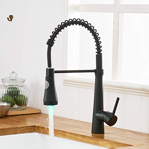 Timaco - Rubinetto da cucina con molla a spirale, rubinetto e doccetta estraibile, orientabile a 360°, nero con LED