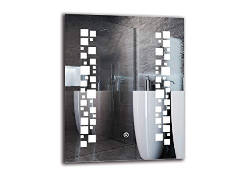Espejo LED Deluxe - Dimensiones del Espejo 40x50 cm - Interruptor tactil - Espejo de baño con iluminación LED - Espejo de Pared - Espejo con iluminación - ARTTOR M1ZD-46-40x50 - Blanco frío 6500K