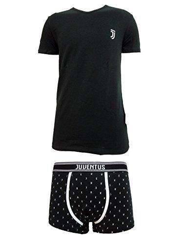 Juventus Coordinato Uomo Boxer + t-Shirt Scollo V Cotone Elasticizzato Prodotto Ufficiale Juve Art. JU11055 (XL, Nero)