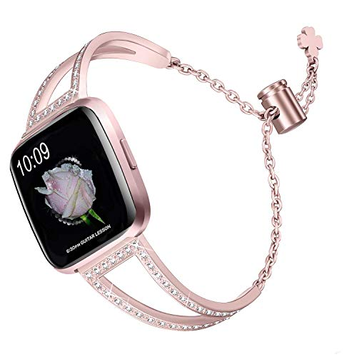 bayite Bling Bands Compatible with Fitbit Versa/Versa 2 Band for Women, Stainless Steel Metal Jewelry Bracelet Bangle Wristband, Rose Gold