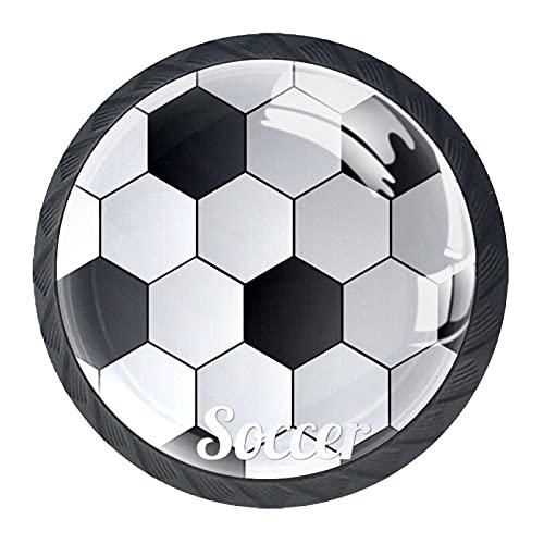Juego de 4 pomos de resina ABS para gabinete de cocina con diseño de fondo de fútbol, tiradores redondos para cajón, tiradores de puerta de gabinete