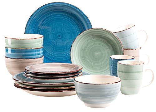 Mäser 931212 Serie Bel Tempo - Vajilla para 4 personas (cerámica, 16 piezas, pintada a mano), diseño vintage