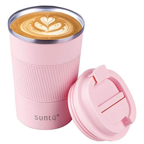 SUNTQ Taza de café para llevar térmica de acero inoxidable – Taza...