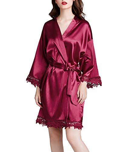 Westkun Vestido Cordón Corto Mujer Kimono Sexy Satén Albornoces Pijamas Camisón Regalo de Dama de Honor(Borgoña,o)