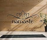 tjapalo Tk51 wandtattoo Yoga Zitat Buddha Lotusblüte Sprüche Wandaufkleber Namaste Spruch Aufkleber Wanddeko indisch Lotus sanskrit, Größe: B30xH12cm (mini), Farbe: schwarz
