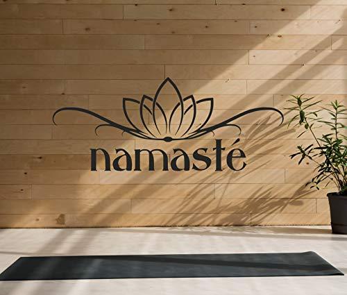 tjapalo® Tk51 wandtattoo Yoga Zitat Buddha Lotusblüte Sprüche Wandaufkleber Namaste Spruch Aufkleber Wanddeko indisch Lotus sanskrit, Größe: B58xH23cm, Farbe: weiß