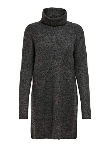 Only Onljana L/s Cowlneck Dress Wool Knt Vestito, Grigio (Dark Grey Melange Dark Grey Melange), 44 (Taglia Produttore: Medium) Donna