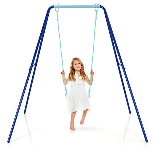 COSTWAY Kinderschaukel mit Gestell, Gartenschaukel mit Bodenpfähle, Schaukelgestell bis 50kg belastbar, Schaukelsitz für Kinder ab 3 Jahren