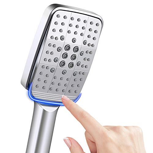 NEUFLY Duschkopf, Quadratisch Handbrause Upgrade-Stil Vollbeschichtung Chrom Duschbrause Hochdruck Spray Universal duschkopf - 6 Modi Dusche