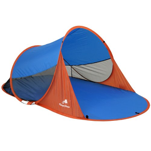 CampFeuer - Automatik Strandmuschel, UV50+, Pop Up Strand Zelt, Beach Tent (Blau/Orange)