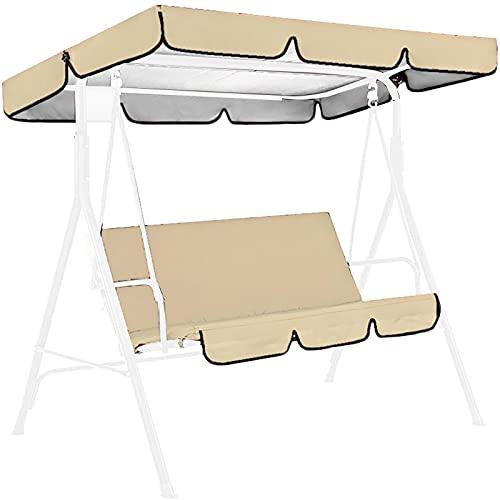 QUYY Cubierta protectora para columpio de jardín de 3 plazas, cubierta para hamaca con canopy, funda de repuesto impermeable para muebles de patio