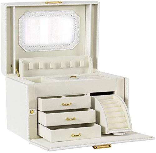 OH Caja de Joyería Organizador Showcase Locker Locker Joyería de Cuero Caja de Joyería Hecha a Mano Caja de Alenamiento Rack Colgante Colgante Rack Seguro y fuerte/Blanco