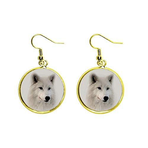 Wolf Skin Hair White Art Deco Gift Fashion Ear Dangle Golden Drop Earring Jewelry Woman
