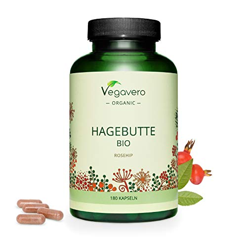 Organic Rosehip Vegavero | NO Additives & Non-GMO | 100% Vegan | 180 Capsules | 700 mg of Organic Powder per Capsule | from Europe