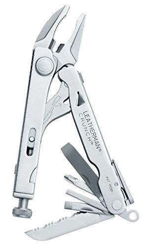 LEATHERMAN Crunch Multi-Tool, mit stabiler Rohrzange, 15 Werkzeuge, aus rostfreiem Stahl mit Leder Holster