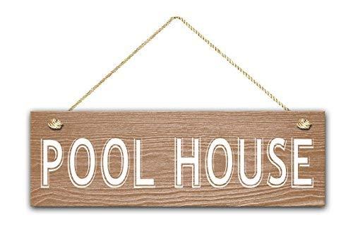 Zhaoshoping Pool House Schild 5,5x17 rustikales Türschild Pool Dekor Schlafzimmer Schild mit Sprüchen Home Decor Holzschild