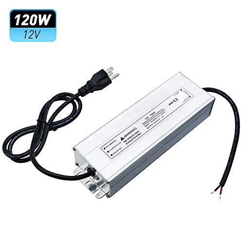 LightingWill Waterproof IP67 LED Power Supply Driver Transformer 120W 110V AC TO 12V DC Low Voltage Output with 3-Prong Plug 3.3 Feet Cable for Outdoor Use