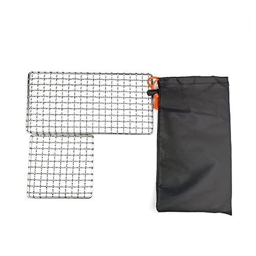 GreenCC 2 soportes de acero inoxidable para barbacoa, soporte portátil plateado, soporte multifuncional para barbacoa, bandeja para horno, para camping, al aire libre
