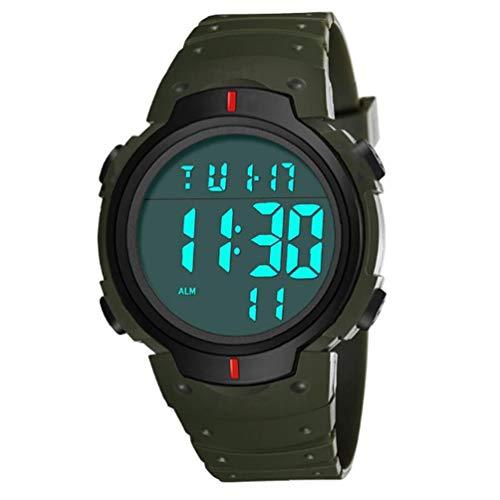 Hiinice Pantalla Led Electrónico Estudiantes Reloj Digital Reloj Impermeable con Cuero Brazalete Grande Camisa Cara Militar Luminoso Cronómetro Verdes Herramientas Convenientes