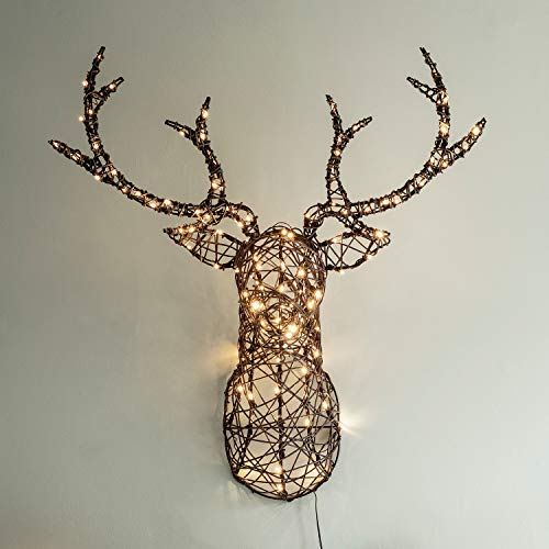 Lights4fun Rattan Stag Head Silhouette Christmas Wall Light Warm White LEDs Plug in 84cm with Timer