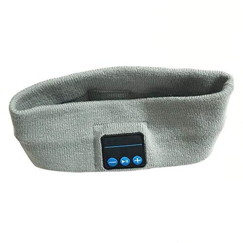 Bluetooth Haarband Stricken Musik Stirnband Headset Mikrofon Drahtloser Kopfhörer Kopfhörer Zum Laufen Yoga Gym Schlaf Sport Ohrhörer-Grau Weiß