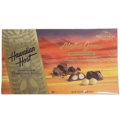 Hawaiian Host Aloha Gems, Chocolate Covered Premium Whole Macadamias 16 OZ (454g)