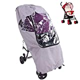 Stroller Rain Cover, DustProof Stroller Windproof Cover, Practical Universal Windproof Linen Gray for Baby Carriage Baby Stroller(Linen Gray Warm rain Cover)