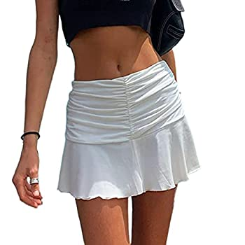 Women s Sexy Ruched Ruffle Skirt Stretch Pleated Flared Short A-Line Tennis Skater Mini Skirt White
