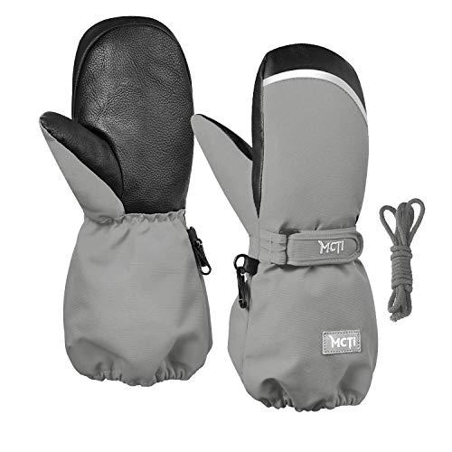 Kineed Fäustlinge Kinderhandschuhe Wasserdicht Handschuhe Kleinkind Snowboard Skihandschuhe 1-15 Jahre Kleinkinder Jungen Mädchen, Grau, XXXS (Herstellergröße: 2)