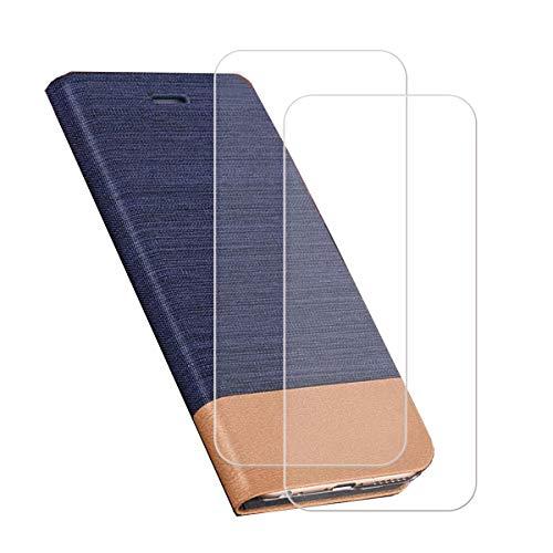 """Capa carteira para Umidigi A5 Pro (6,3"""") + [2 unidades] película protetora de tela de vidro temperado, capa flip de couro sintético YZKJ com compartimentos para cartão de crédito e suporte protetor - azul"""