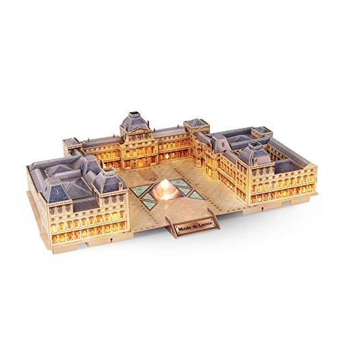 Puzzle 3D, Museo del Louvre, Modelo arquitectónico, hecho a mano bricolaje creativo Modelo, entre padres e hijos juguetes, kits de montaje modelo, rompecabezas Insertar juguetes, regalos del día de lo